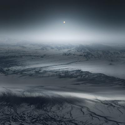 Print art: Moonlight over white lands