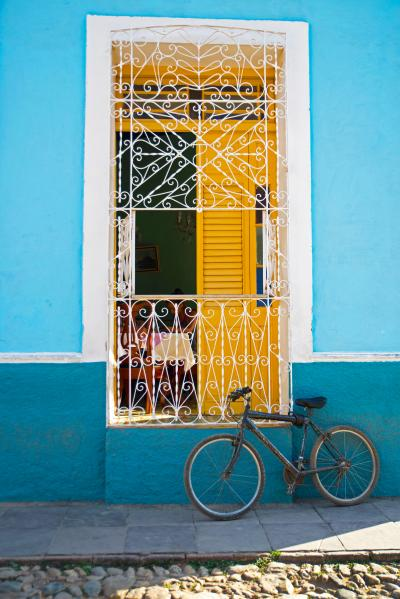 Print art: Bicycle leaning by window