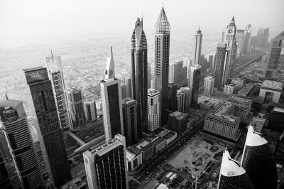 Print art: Dubai Skyline at an angle