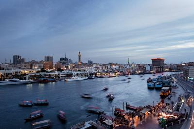 Print art: Dubai Creek at sunset