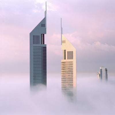 Print art: Emirates Towers under Construction 1998