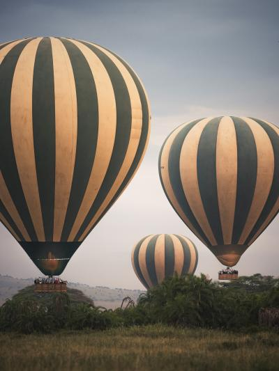 Print art: Balloon Safari in the Serengeti at dawn