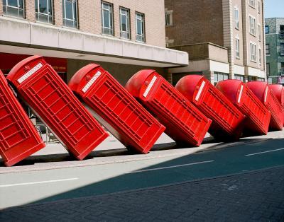 Print art: Tumbling telephone boxes